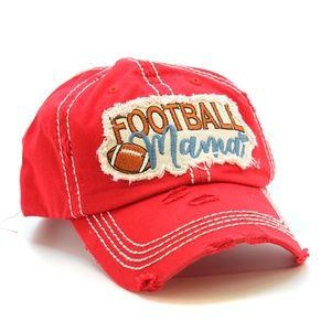 Women Football Mama Baseball Vintage Distress Cap